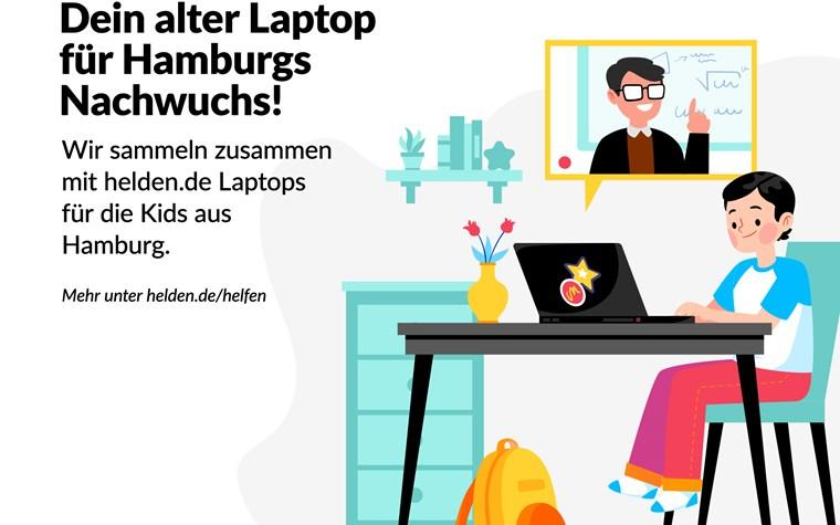 Der FC St. Pauli und helden.de übergeben gespendete Laptops an Schüler*innen