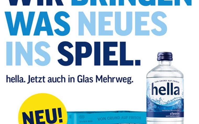 Zukünftig auch am Millerntor: hella Mineralwasser auch in Glasflaschen