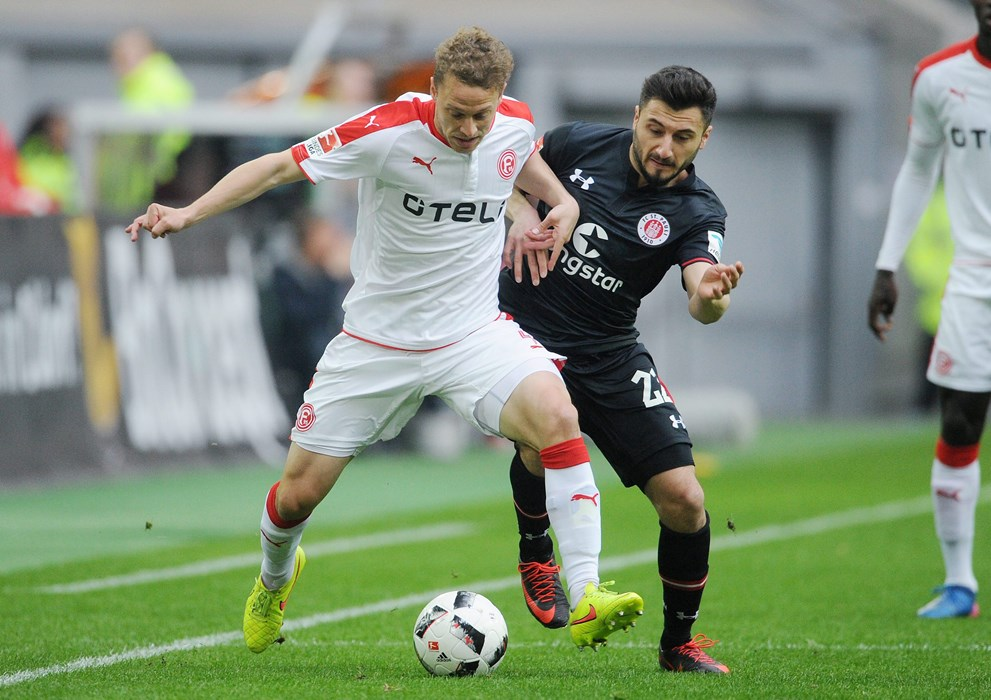 As here against Düsseldorf's Julian Schauerte, Cenk Sahin was quick into the tackle and able to win back many crucial balls.
