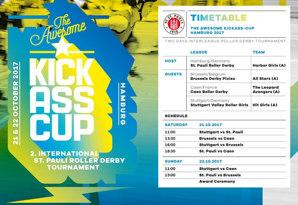 Der Spielplan zum 2. Awesome Kick-Ass-Cup der St. Pauli Roller Derby Frauen