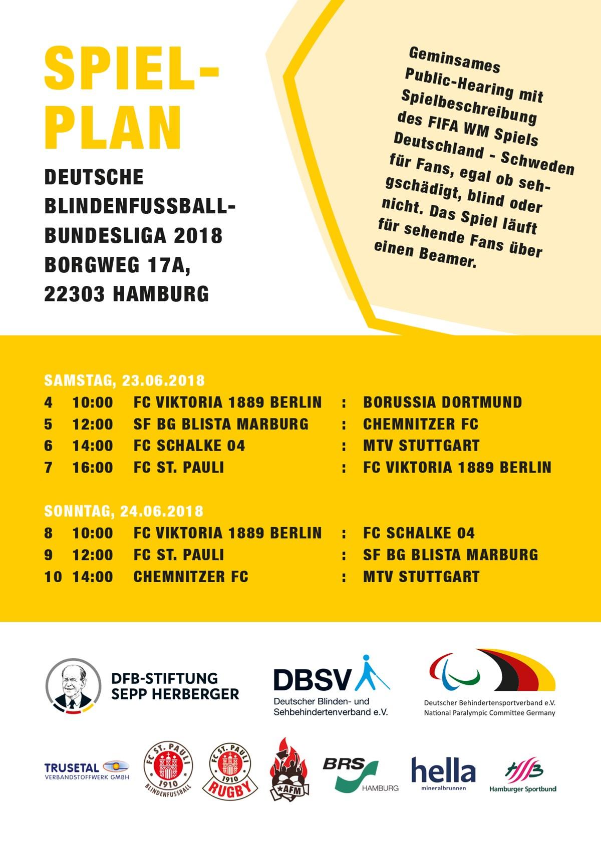Der Spielplan des 2. Spieltages der Blindenfußball-Bundesliga 2018