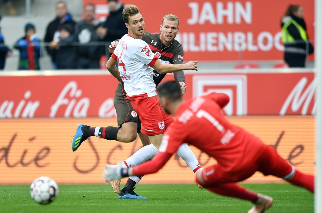 Henk Veerman is denied by Philipp Pentke in the sixth minute but he made no mistake six minutes before the interval.