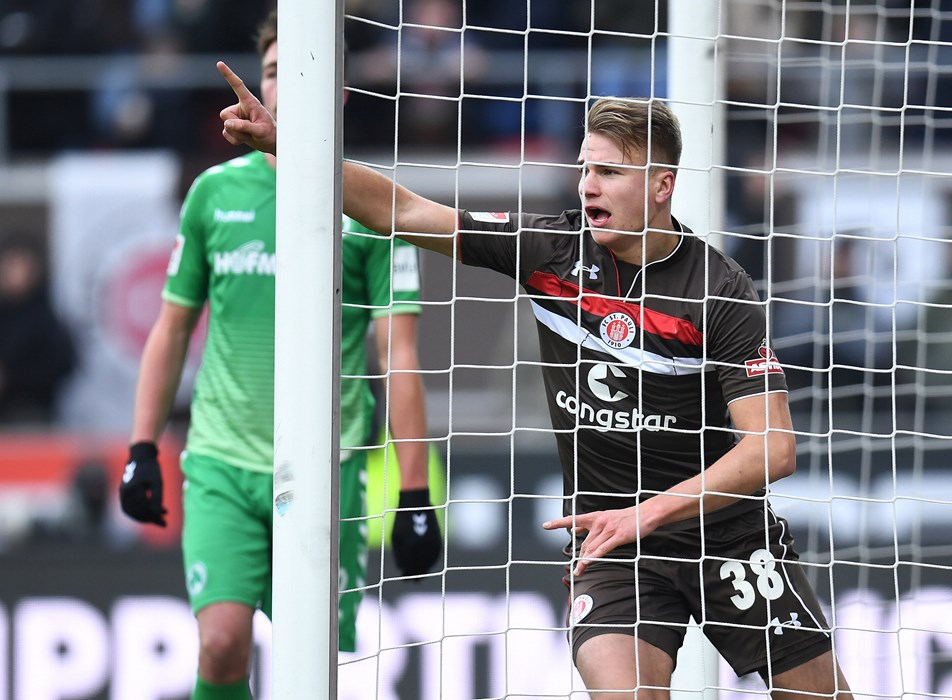 Florian Carstens celebrates his first senior goal on his fifth second-division appearance.