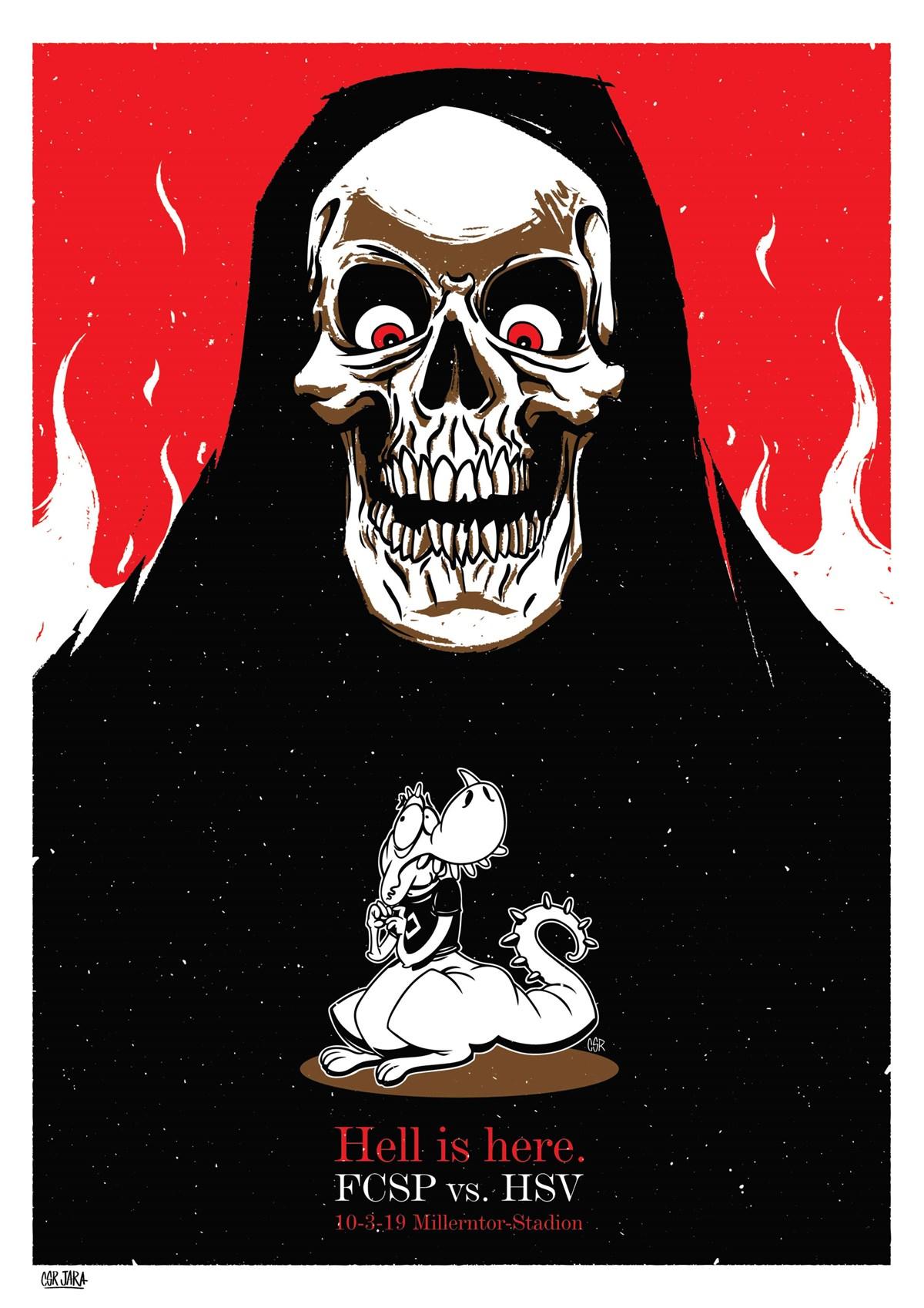 """Der Derby-Kunstdruck von César Jara trägt den Titel """"Hell is here""""."""