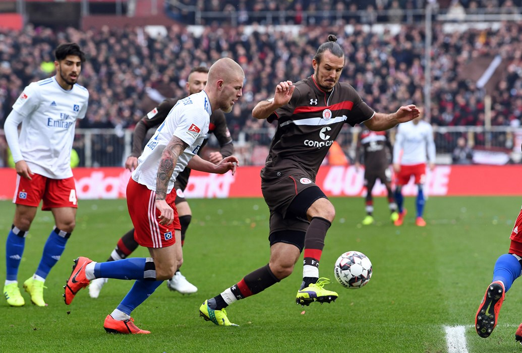 In a hard-fought first half Pierre-Michel Lasogga gave the visitors the lead on 32 minutes.