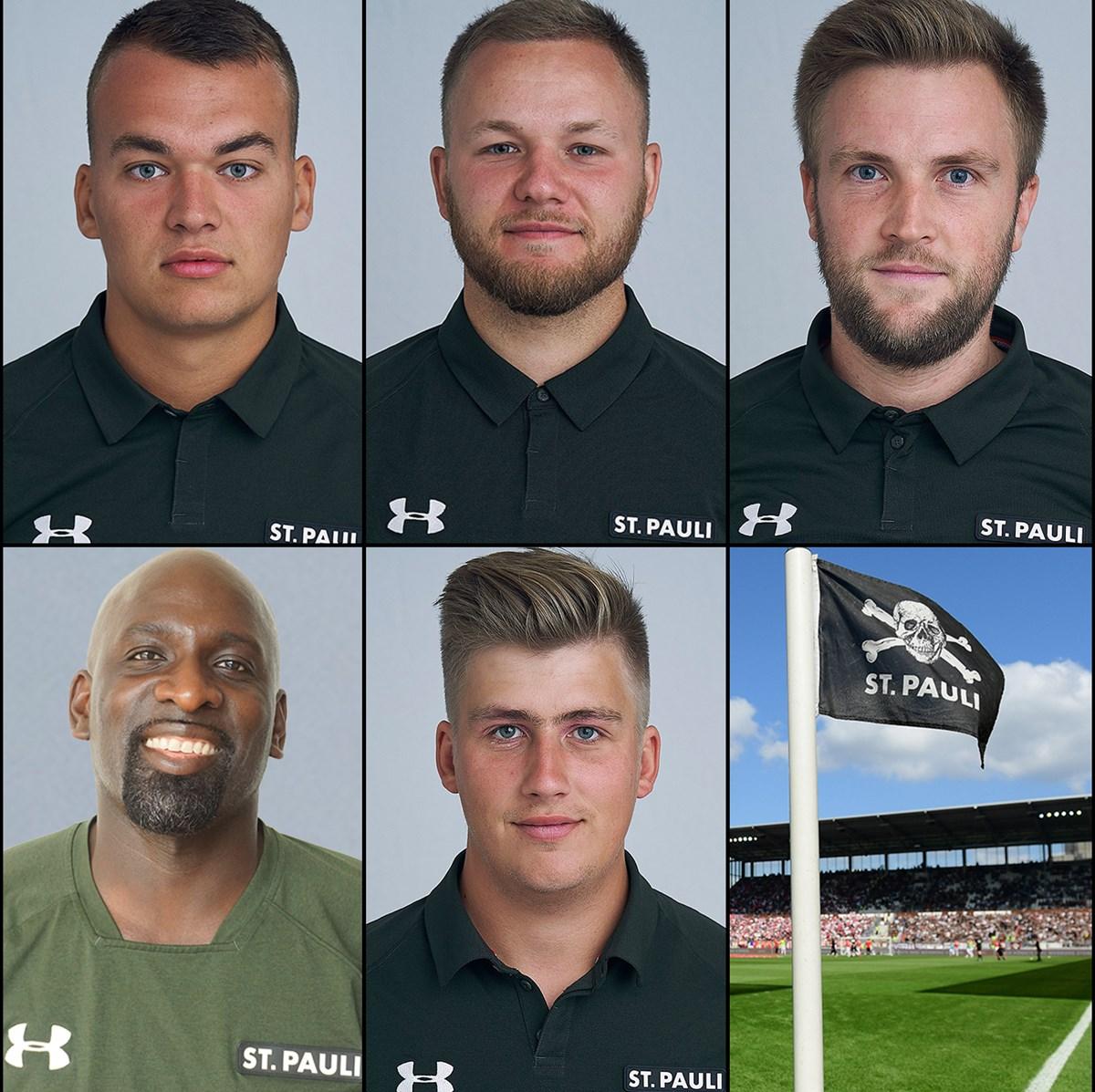 Die Trainer der U10-U14 von links nach rechts: Max Brockmann (U10), Philip Hauswerth (U11), Michel Welke (U12), Mac Mensah (U13) und Thorben Sahs (U14).