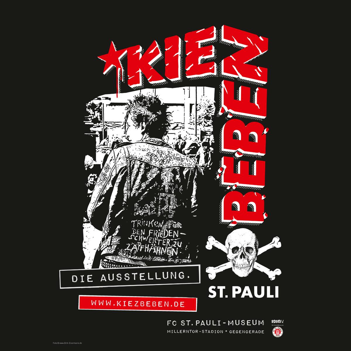 Die Ausstellung KIEZBEBEN ist noch bis 5. Oktober im FC St. Pauli-Museum in der Gegengerade zu sehen. Öffnungszeiten: Do.+Fr. 16-22, Sa.+So. 11-19 Uhr.