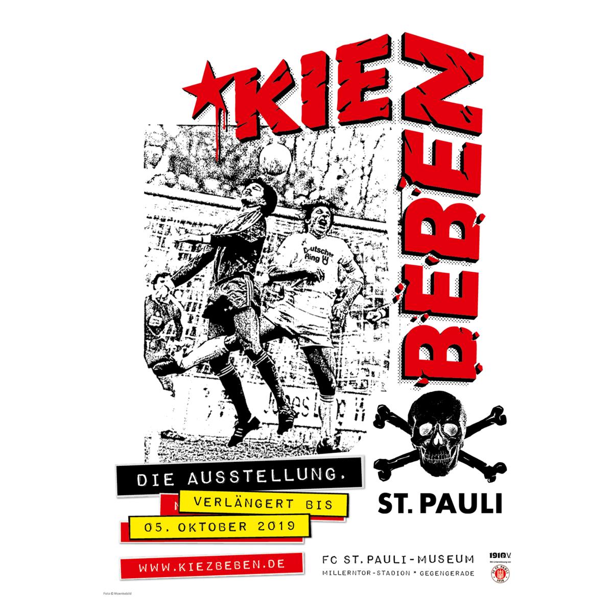 Die Ausstellung KIEZBEBEN ist bis einschließlich 5. Oktober immer Do+Fr von 16 bis 22 und Sa+So von 11 bis 19 Uhr im FC St. Pauli-Museum in der Gegengerade geöffnet.
