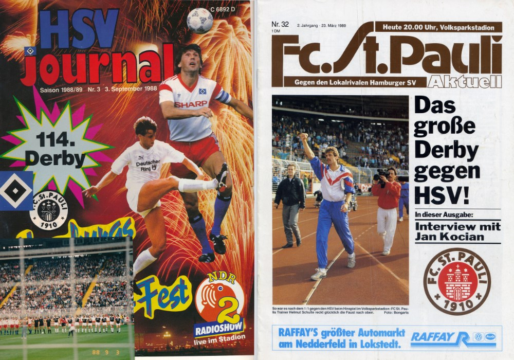 Die Stadionzeitungen zu den Derbys 1988/89 (links als Fan-Collage mit Foto aus dem Stadion).