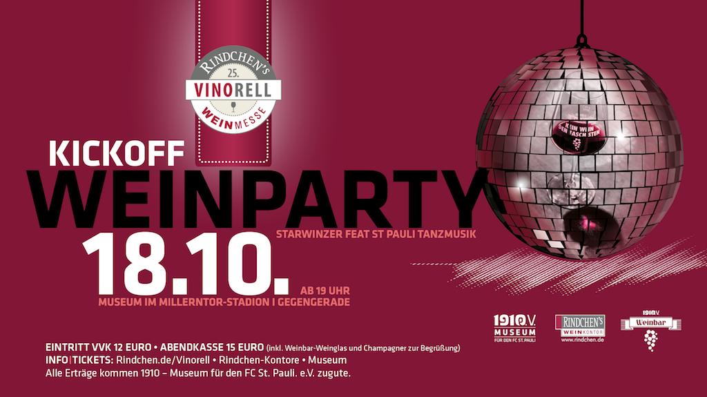 Internationale Weine und tolle Musik: Tickets für die Weinparty im FC St. Pauli-Museum gibt es in allen Rindchen's-Filialen und unter Tel. 040 / 556 20 20.