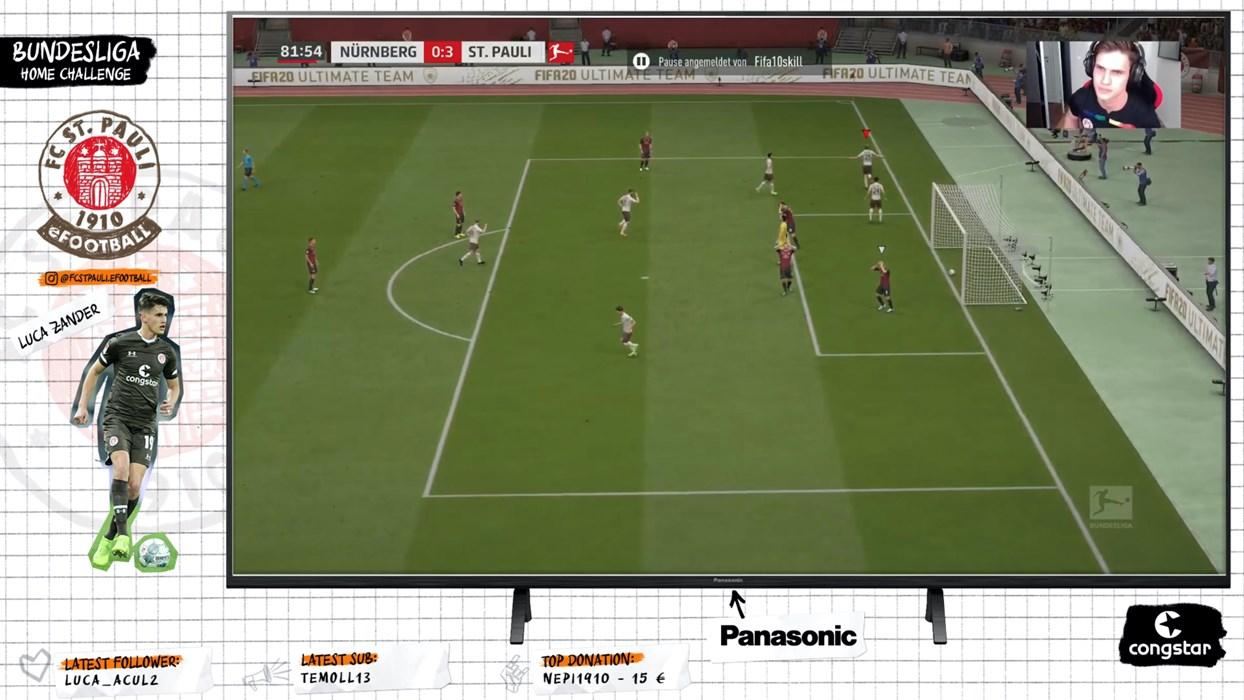 Im Spiel gegen Nürnberg erzielte Luca Zander zwei Tore mit dem virtuellen Henk Veerman, einmal traf er mit Boris Tashchy.